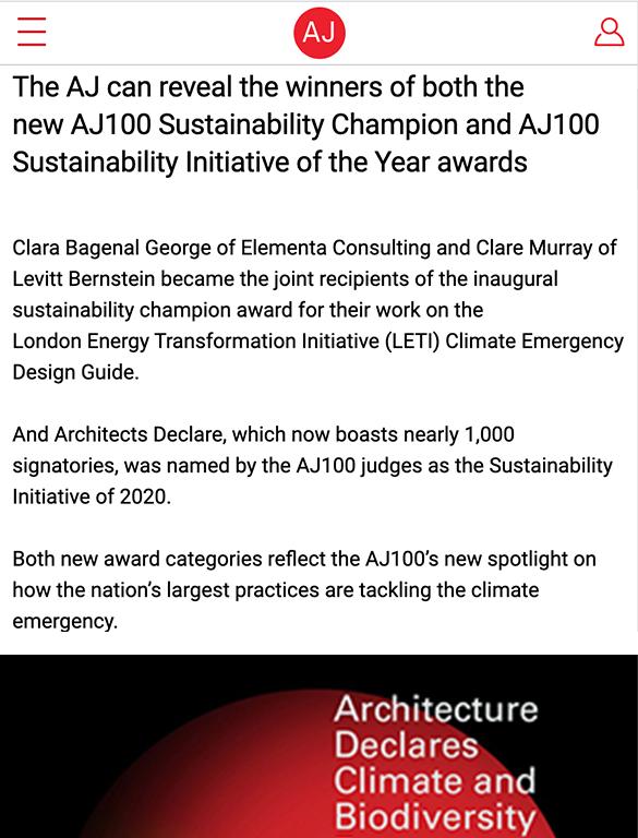 Winners of new AJ100 sustainability awards revealed