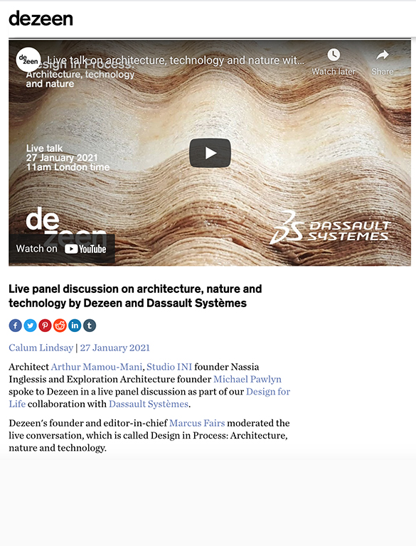 Dezeen : Live panel discussion on architecture, nature and technology