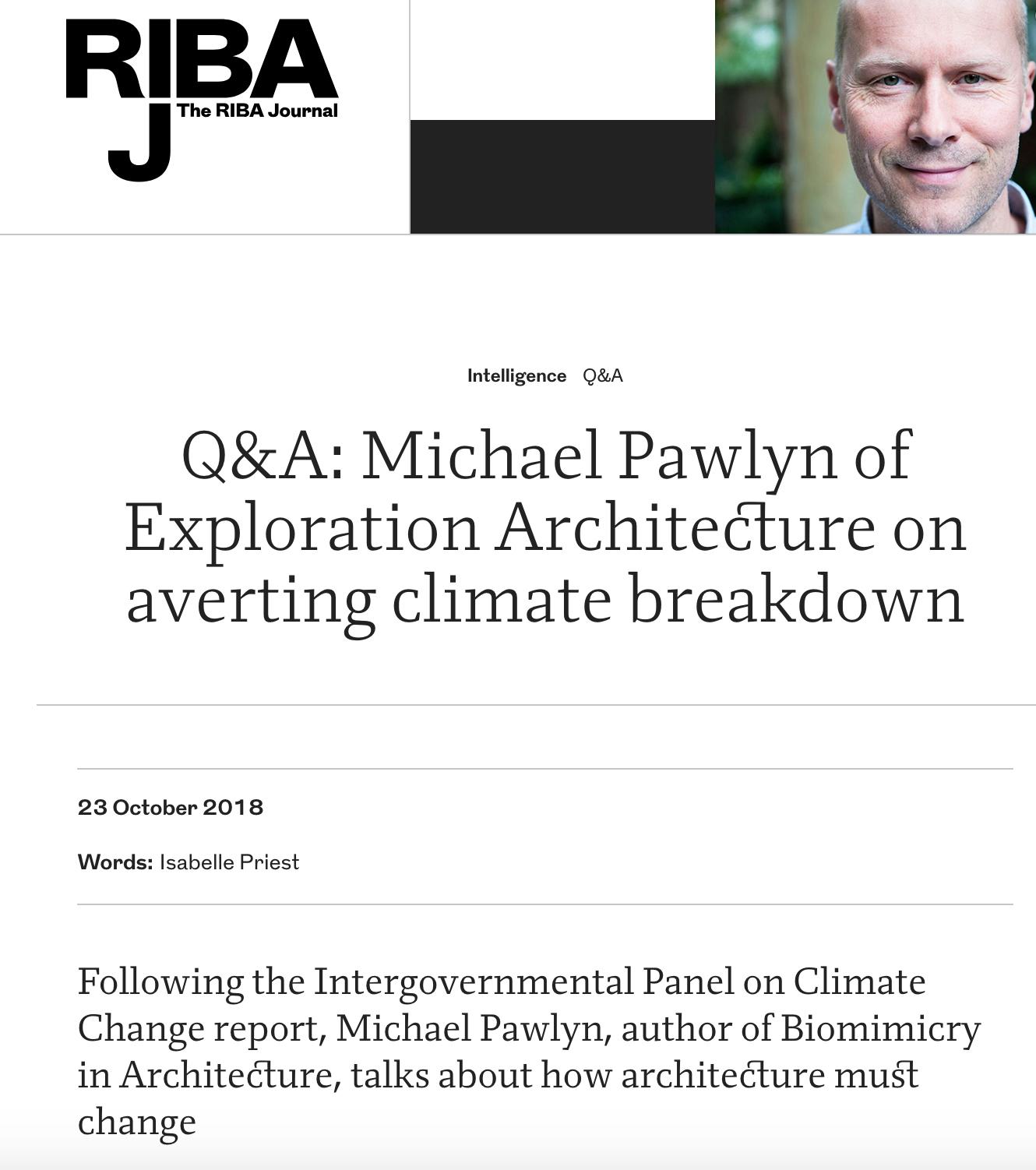 The RIBA Journal : Q&A Michael Pawlyn